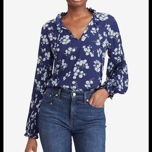 RALPH LAUREN WOMENS BLUE FLORAL BLOUSE TOP